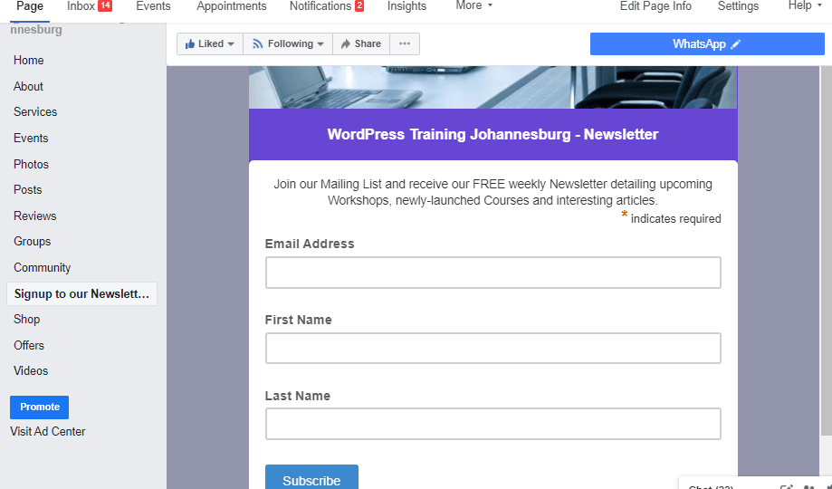 How to Add a MailChimp Signup Form to a Facebook Business Page